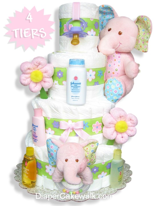 Pink elephant diaper cake for a baby girl