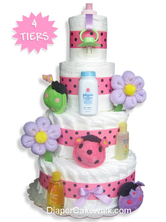 Ladybug diaper cake for a garden themed baby shower centerpiece