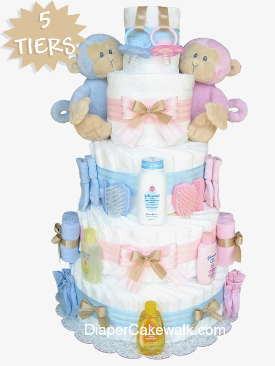 Twins diaper cake for a pink or blue baby shower centerpiece