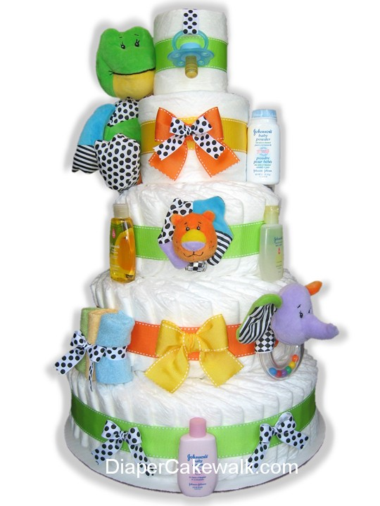 Bright Colorful 5 tier diaper cake