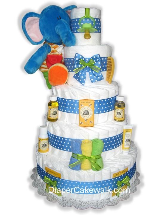 Blue Burts Bees diaper cake
