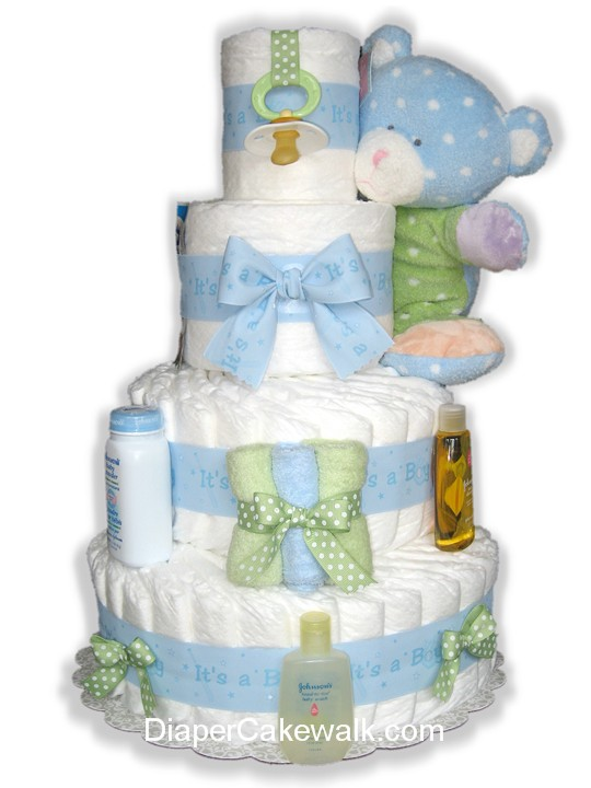 Blue & Green diaper cake