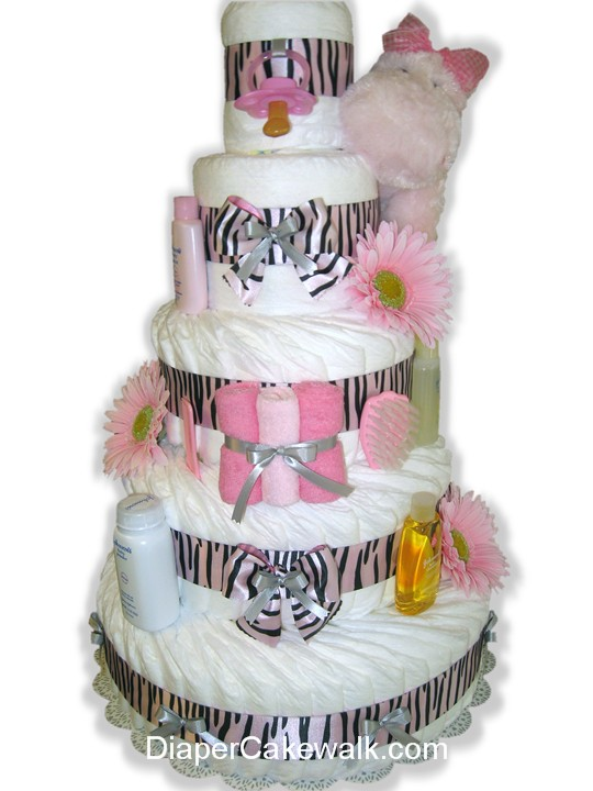 Pink Safari diaper cake