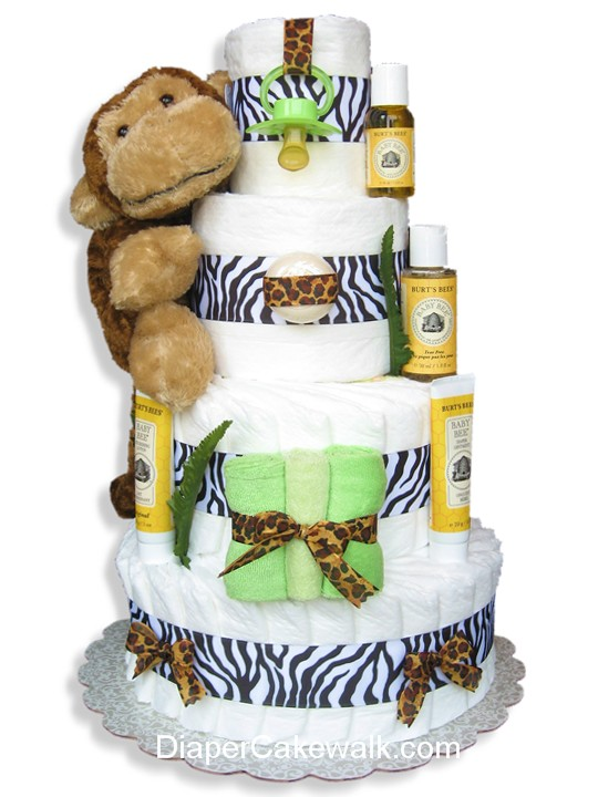 Zebra stripe safari themed diaper cake
