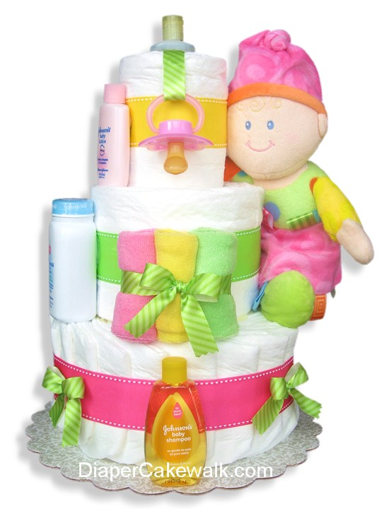 Pink diaper cake for a baby girl